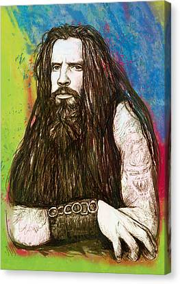 Rob Zombie Stylised Pop Art Drawing Sketch Portrait Canvas Print by Kim Wang