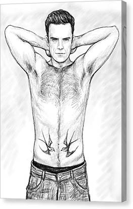Robbie Williams Art Drawing Sketch Portrait Canvas Print