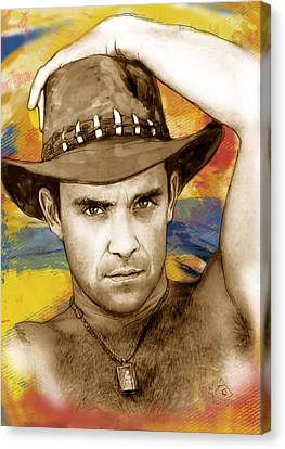 Robbie Williams Stylised Pop Art Drawing Potrait Poser Canvas Print