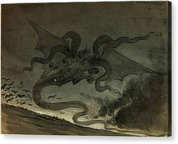 Robert Caney, British 1847-1911, Flying Monster Canvas Print