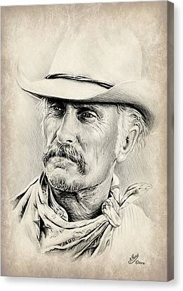 Robert Duvall Sepia Scratch Canvas Print by Andrew Read