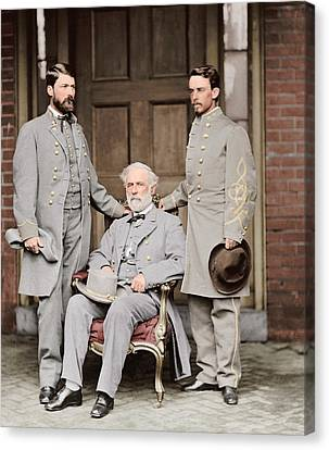 Robert E. Lee With Eldest Son And Aide Canvas Print by Stocktrek Images