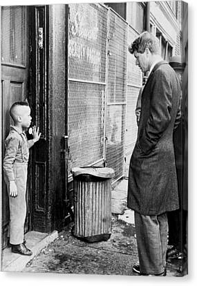 Democrats Canvas Print - Robert F Kennedy With A Young Black Child 1960s by Mountain Dreams