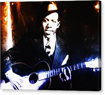 Robert Johnson - King Of The Blues Canvas Print by Bill Cannon