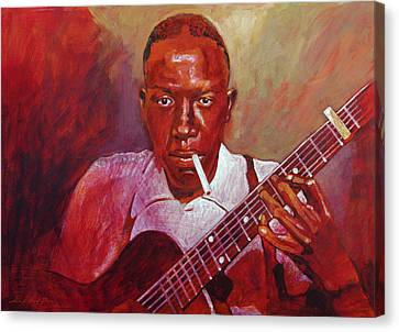 Robert Johnson Photo Booth Portrait Canvas Print by David Lloyd Glover
