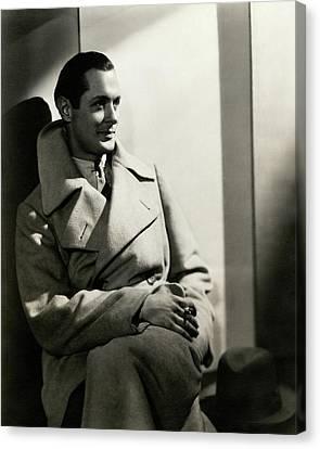 Robert Montgomery Wearing An Overcoat Canvas Print