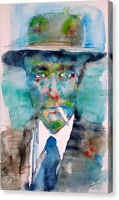 Robert Oppenheimer - Watercolor Portrait.1 Canvas Print by Fabrizio Cassetta