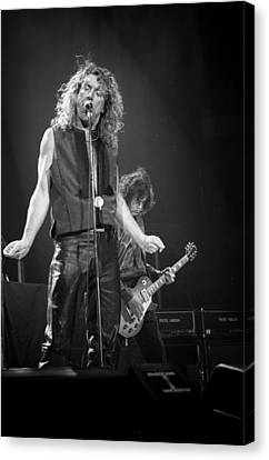 Robert Plant Performance Art Canvas Print - Robert Plant And Jimmy Page by Timothy Bischoff