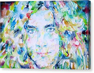 Robert Plant - Watercolor Portrait Canvas Print by Fabrizio Cassetta