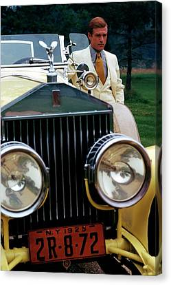 Robert Redford By A Rolls-royce Canvas Print