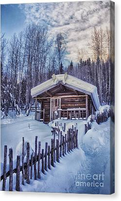 Robert Service Cabin Winter Idyll Canvas Print by Priska Wettstein