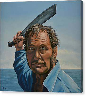 Realistic Canvas Print - Robert Shaw In Jaws by Paul Meijering