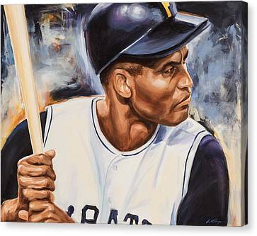 Roberto Clemente Canvas Print by Angie Villegas