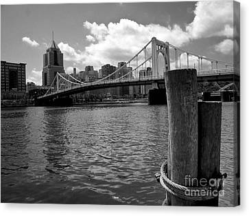 River View Canvas Print - Roberto Clemente Bridge Pittsburgh by Amy Cicconi