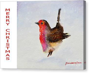 Robin Christmas Card Canvas Print by Genevieve Brown