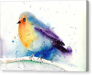 Blau Canvas Print - Robin In Snow - Winter Art Bird by Tiberiu Soos
