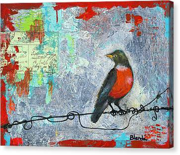 Robin Love Letter  Canvas Print by Blenda Studio