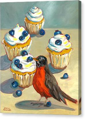 Canvas Print featuring the painting Robin With Blueberry Cupcakes by Susan Thomas