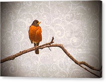 Canvas Print featuring the photograph Robin With Damask Background by Peggy Collins