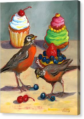 Canvas Print featuring the painting Robins And Desserts by Susan Thomas