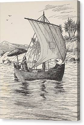 Robinson Crusoe On His Boat Canvas Print