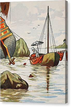 Robinson Crusoe Rescuing A Dog From A Spanish Shipwreck Canvas Print by English School