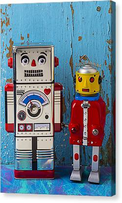 Robot Friends Canvas Print by Garry Gay