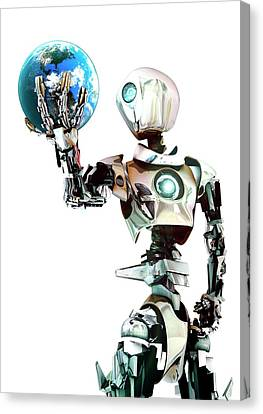 Robot Lamenting Earth Canvas Print by Animate4.com/science Photo Libary
