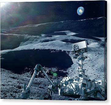 Robot Research On The Moon Canvas Print