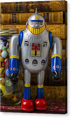 Robot With Marbles And Books Canvas Print by Garry Gay