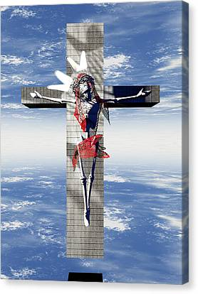 Robotic Christ Made In Spain Canvas Print by Quim Abella