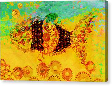 Steampunk Canvas Print - Robotic Fossil - Fish by Fran Riley