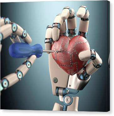 Robotic Hand Fixing Heart Canvas Print