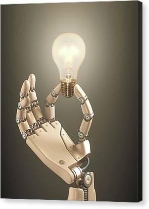 Robotic Hand Holding A Light Bulb Canvas Print by Ktsdesign