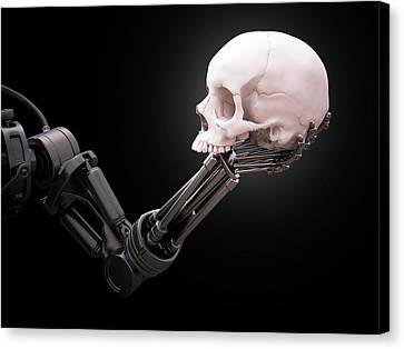Robotic Hand Holding Skull Canvas Print by Andrzej Wojcicki