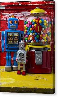 Robots And Bubblegum Machine Canvas Print by Garry Gay