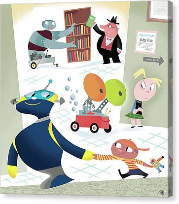 Wagon Canvas Print - Robots And Children At School by Bob Staake