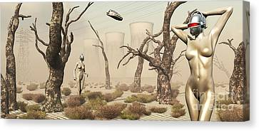 Hands Behind Head Canvas Print - Robots Walking About A Landscape by Mark Stevenson
