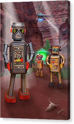 Robots With Attitudes 2 Canvas Print by Mike McGlothlen
