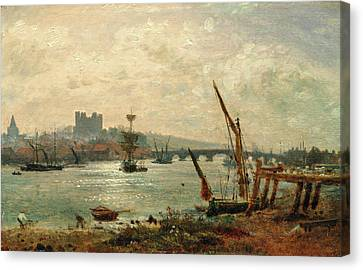 Rochester Cathedral And Castle, Frederick Nash Canvas Print by Litz Collection