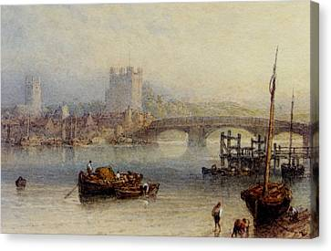 Rochester From The River Canvas Print by Myles Birket Foster