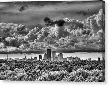 Rochester Ny Skyline In Black And White Canvas Print by Tim Buisman