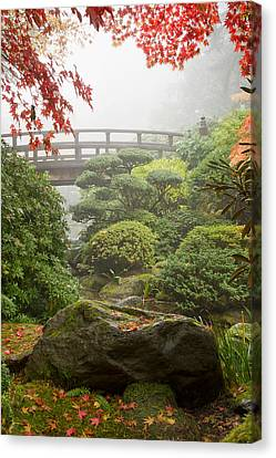 Canvas Print featuring the photograph Rock And Bridge At Japanese Garden by JPLDesigns