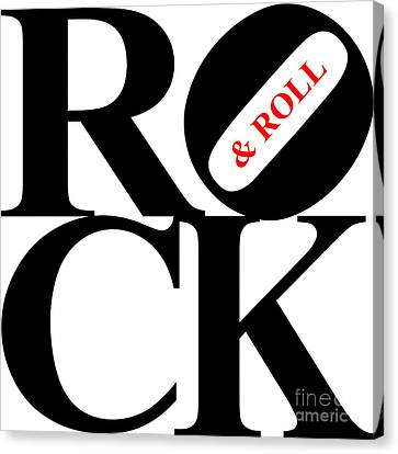 Rock And Roll 20130708 Black White Red Canvas Print by Wingsdomain Art and Photography