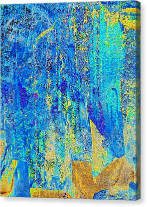 Rock Art Blue And Gold Canvas Print