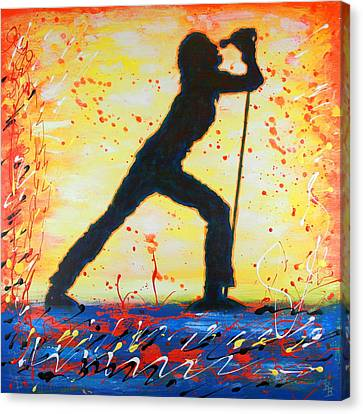 Rock Band Singer Abstract Art Canvas Print by Bob Baker