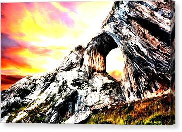 Canvas Print featuring the painting Rock Cliff Sunset by Bruce Nutting