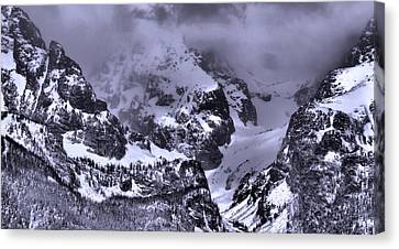Grand Teton Mountains In Winter Canvas Print by Dan Sproul