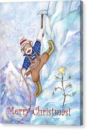 Rock Climbing Sock Monkey Canvas Print