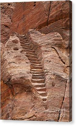 Rock Cut Stairway Of The Street Of Facades Petra Jordan Canvas Print by Robert Preston
